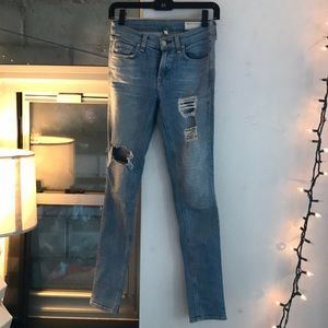Rag and bone light wash jeans with rips